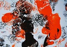 红色黑灰色油漆contasts,形状,水彩背景 免版税库存照片