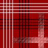 红色黑白格子呢传统织品无缝的样式,传染媒介 皇族释放例证