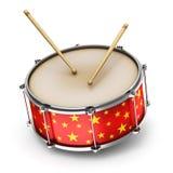 红色鼓的鼓槌 免版税库存照片
