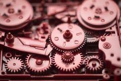 红色齿轮和嵌齿轮 免版税库存照片