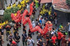 红色龙春节庆祝 免版税库存照片