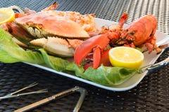 红色龙虾、螃蟹和超大虾在一块大板材 免版税库存照片