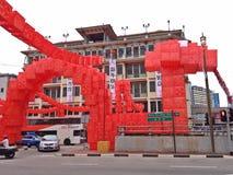 红色龙雕塑-唐人街,新加坡 库存图片