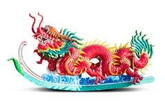 红色龙雕象 免版税库存照片