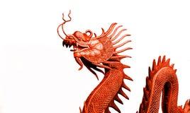 红色龙雕象 免版税库存图片