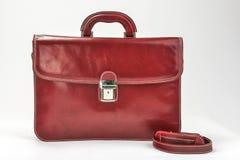 红色,有专业样式的Bordoux公文包有白色背景 免版税库存图片