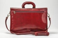 红色,有专业样式的Bordoux公文包有白色背景 免版税图库摄影