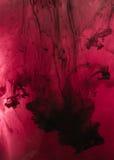 红色,桃红色,黑,白色墨水在水中 阳光照明设备 动态 库存图片