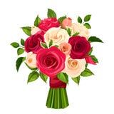红色,橙色和白玫瑰花束  也corel凹道例证向量 向量例证