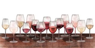 红色,白色和玫瑰酒红色玻璃水彩行在白色背景隔绝的 库存照片
