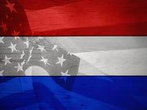 红色,白色和蓝色爱国旗子背景 免版税库存照片