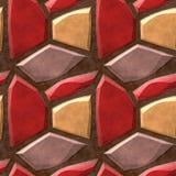 红色,米黄和黄色石头的无缝的安心路面样式 免版税库存照片