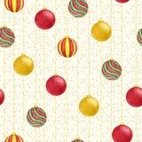 红色,绿色和黄色在满天星斗的背景的颜色无缝的样式圣诞节垂悬的球  装饰新年度 库存图片