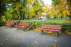红色,长木凳在公园在秋天 免版税图库摄影