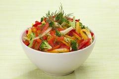红色,黄色和橙色甜椒、硬花甘蓝和茴香沙拉 库存图片