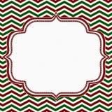 红色,绿色和白色雪佛框架有刺绣背景 库存图片