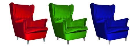 红色,绿色和蓝色椅子, RGB模型 免版税库存照片