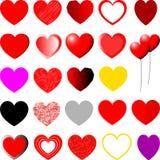 红色,黄色,紫罗兰色和灰色心脏-集合 图库摄影