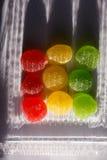 红色,黄色,绿色果冻,果子糖果,枣 免版税库存图片