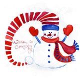 红色绘了在帽子,手套,围巾的雪人 免版税库存照片