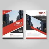 红色黑传染媒介年终报告传单小册子飞行物模板设计,书套布局设计,书套 免版税库存照片