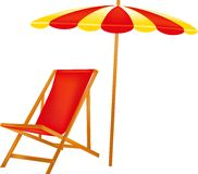 红色轻便马车休息室,晒日光浴的休假区在阴影 图库摄影