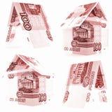 红色100俄罗斯卢布集合,被隔绝的卢布房子,白色背景 免版税库存照片