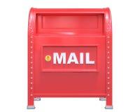红色经典邮箱3D在白色背景回报与 免版税库存图片