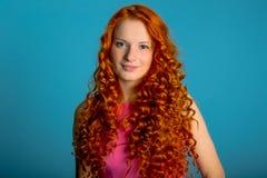 红色头发女孩 库存照片