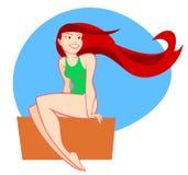 红色头发女孩 皇族释放例证