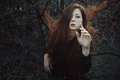 红色头发妇女在落寞森林里 库存图片