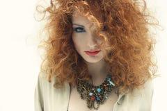 红色头发自然秀丽画象1 库存照片