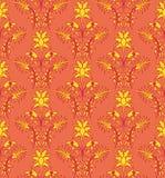 红色洛可可式的花卉样式 图库摄影