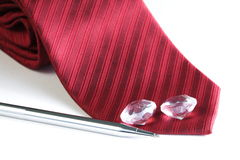 红色织品领带 图库摄影