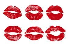 红色嘴唇印刷品  在白色背景的传染媒介例证 EPS 库存例证