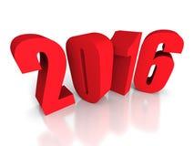 红色2016在白色背景的新年标志 免版税库存照片