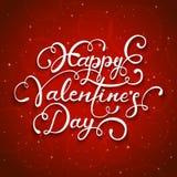 红色满天星斗的背景和愉快的情人节 免版税库存照片