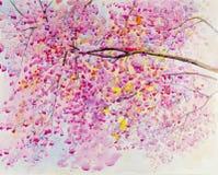 红色水彩原始的山水画,狂放的喜马拉雅樱桃花的桃红色颜色 库存照片