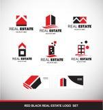 红色黑房地产商标象集合 向量例证
