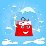 红色购物袋漫画人物展示点 库存图片