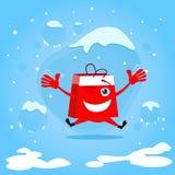 红色购物袋漫画人物跃迁举行手 库存照片