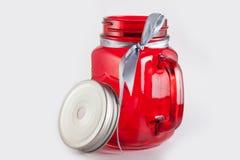 红色玻璃瓶子 库存照片