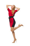 红色黑礼服的美丽的夫人 免版税库存照片