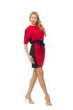 红色黑礼服的美丽的夫人 免版税库存图片