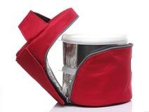 红色绝缘在白色背景设置的食物袋子 库存图片