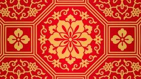 红色黄色中国花纹花样背景 库存照片
