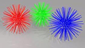 红色绿色和蓝色钉球 免版税库存照片