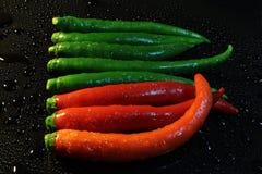 红色绿色辣椒 库存照片