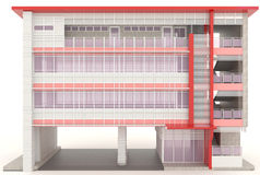 红色3D现代办公楼外部在白色 免版税库存照片