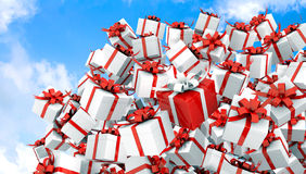 红色3d礼物盒例证 库存照片